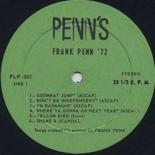 Frank Penn / Frank Penn '72 label