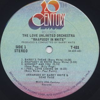 Love Unlimited Orchestra / Rhapsody In White label