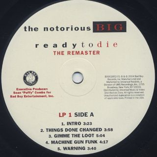 Notorious B.I.G. / Ready To Die (The Remaster LP) label