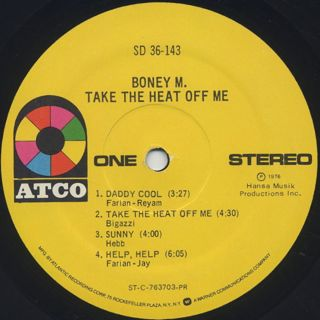 Boney M / Take The Heat Off Me label