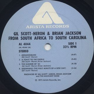 Gil Scott-Heron and Brian Jackson / From South Africa To South Carolina label