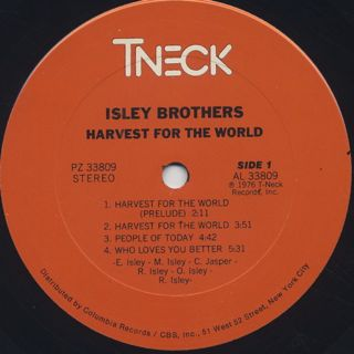 Isley Brothers / Harvest For The World label