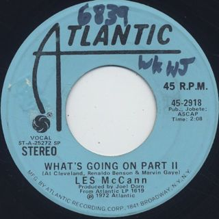 Les McCann / What's Going On Part 1 c/w Part 2 back