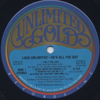 Love Unlimited / He's All Live Got label