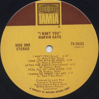 Marvin Gaye / I Want You label