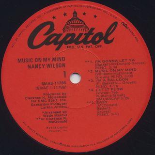 Nancy Wilson / Music On My Mind label