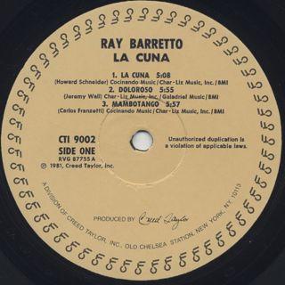 Ray Barretto / La Cuna label