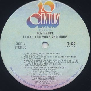 Tom Brock / I Love You More And More label