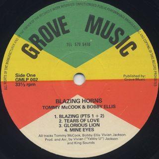 Tommy McCook & Bobby Ellis / Blazing Horns label