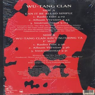 Wu-Tang Clan / Can It Be All So Simple c/w Wu-Tang Clan Ain't Nuthing Ta F' Wit back
