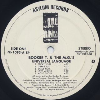 Booker T And The MG's / Universal Language label