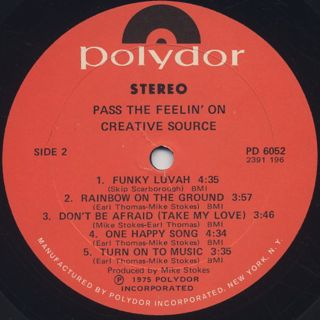 Creative Source / Pass The Feelin' On label