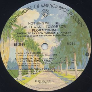 Flora Purim / Nothing Will Be As It Was...Tomorrow label
