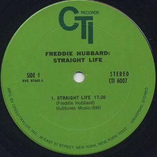 Freddie Hubbard / Straight Life label
