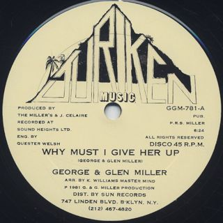 George And Glen Miller / Why Must I Give Her Up label