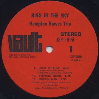 Hampton Hawes Trio Featuring Leroy Vinnegar With Donald Bailey / High In The Sky label