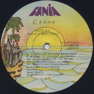 Ismael Miranda / Este Es Ismael Miranda label