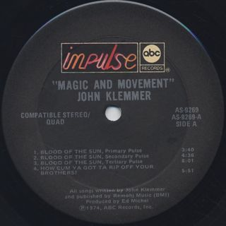 John Klemmer / Magic And Movement label