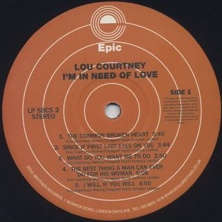 Lou Courtney / I'm In Need Of Love label