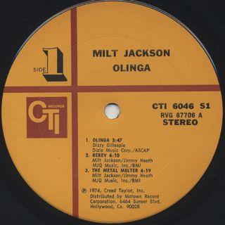 Milt Jackson / Olinga label