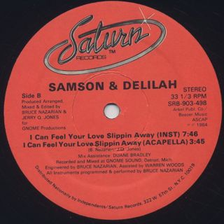 Samson & Delilah / I Can Feel Your Love Slippin Away label
