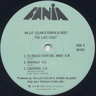 Willie Colon & Ruben Blades / The Last Fight label