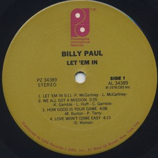 Billy Paul / Let 'Em In label