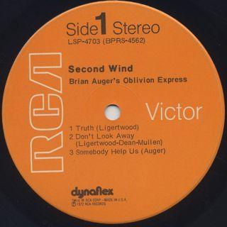 Brian Auger's Oblivion Express / Second Wind label