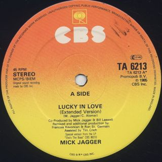 Mick Jagger / Lucky In Love label