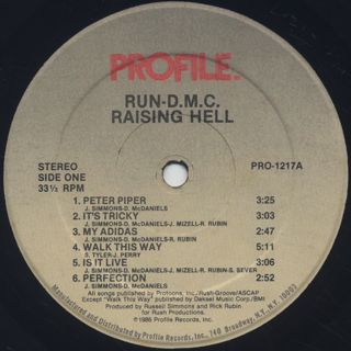 Run DMC / Raising Hell label