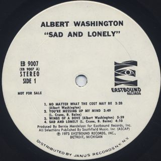 Albert Washington / Sad And Lonely label