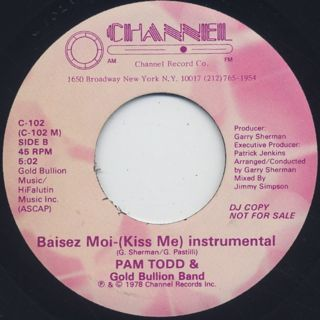 Pam Todd & Gold Bullion Band / Baisez-Moi (Kiss Me) back