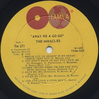 Smokey Robinson & The Miracles / Away We A go Go label