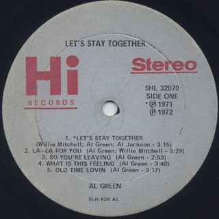 Al Green / Let's Stay Together label