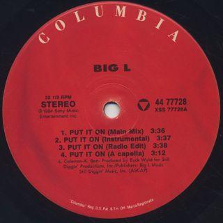Big L / Put It On label