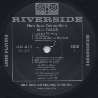 Bill Evans / New Jazz Conception label