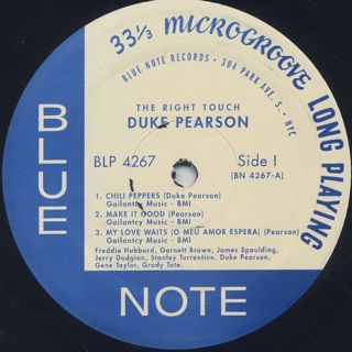 Duke Pearson / The Right Touch label