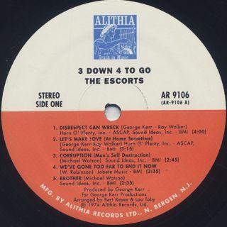Escorts / 3 Down 4 To Go label
