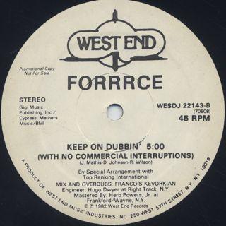 Forrrce / Keep On Dancin' label
