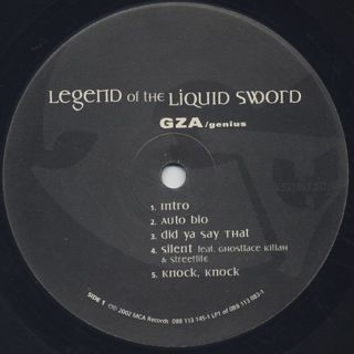 GZA / Legend Of The Liquid Sword label
