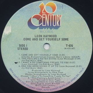 Leon Haywood / Come And Get Yourself Some label