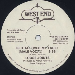 Loose Joints / Is It All Over My Face label