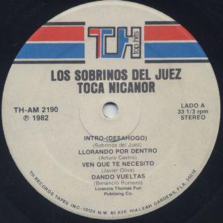 Los Sobrinos Del Juez / Toca Nicanor label