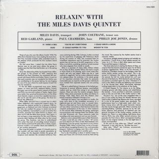 Miles Davis Quintet / Relaxin' With The Miles Davis Quintet back