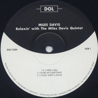 Miles Davis Quintet / Relaxin' With The Miles Davis Quintet label