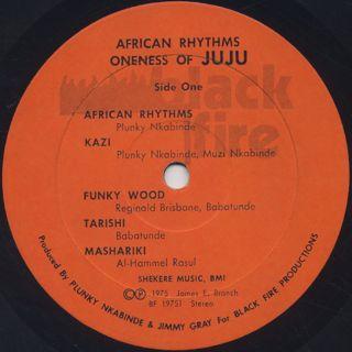Oneness Of JuJu / African Rhythms label