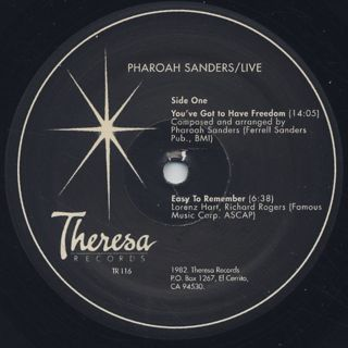 Pharoah Sanders / Live... label