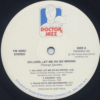 Pharoah Sanders / Oh Lord, Let Me Do No Wrong label