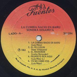 Sonora Dinamita / La Cumbia Nacio En Baru label