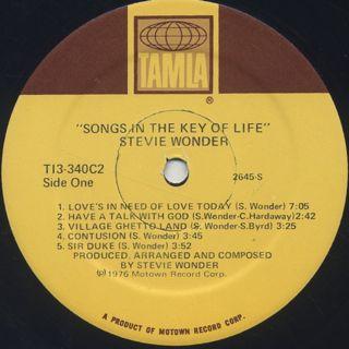 Stevie Wonder / Songs In The Key Of Life label